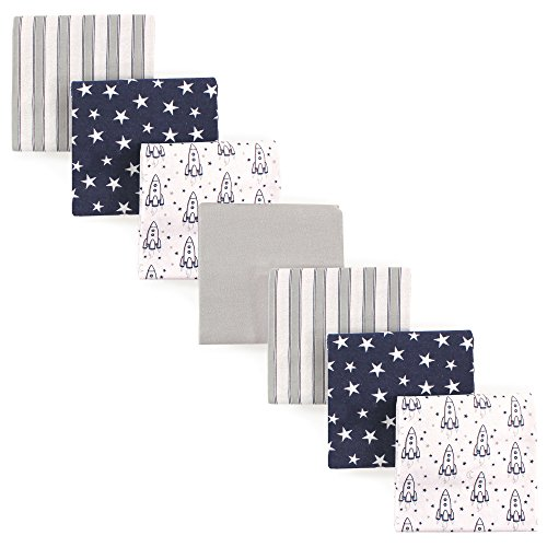 Swaddling Baby Blanket Flannel (Hudson Baby 7 Piece Flannel Receiving Blanket, Rocket Ship, One Size)