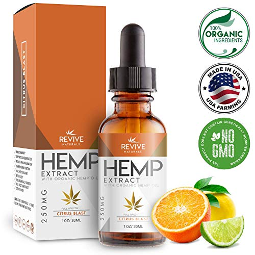 Organic Hemp Oil for Pain-Relief - 250MG, Citrus Flavored, Helps Reduce Stress & Anxiety, Blended with Organic Hemp Seed Oil for Optimal Absorption, Lab Tested, Rich in Omega 3, 6 & 9, 1oz