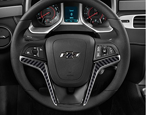 IPG for 2012-2015 Camaro Carbon Fiber Steering Wheel Accent Decal Cove Chevy Wrap Skin Do it Yourself kit 2 Units Set (Black Carbon Fiber with Emblem)