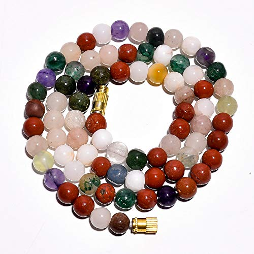 - Kanta Incorporation Red Jasper White Jade Gemstone Round Beads Barrel Clasp Necklace 17