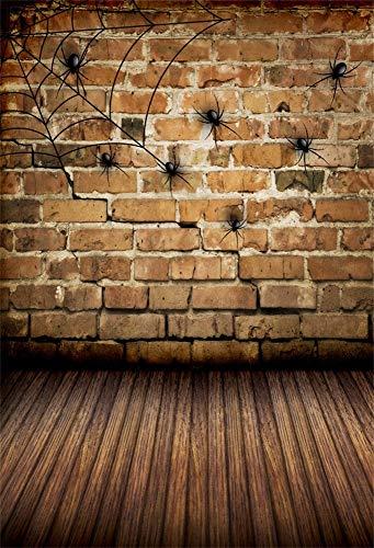 (OFILA Halloween Backdrop 6x8ft Brick Wall Photography Background Cobweb Wood Floordrop Kids Halloween Photos Trick or Treat Events Halloween Party Decoration Digital Video Studio)