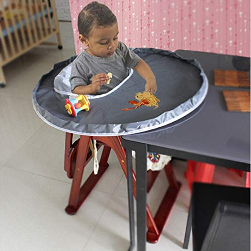 Jinjin New Baby Dinner Mat Cover Waterproof Highchair Bumper Pad Place Mat for Your Babies and Toddlers (Gray)