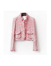 Jeremy Stone Fashion Pink Tweed Jacket for Women Autumn Winter Classic Short Blazers with Long Sleeve Slim Coat Outerwear
