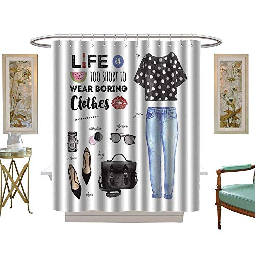 luvoluxhome Shower Curtains Fabric Watercolor Fashion Casual Outfit Life is Too Short to wear Boring Clothes Quote W48 x L84 Fabric Bathroom Set with -