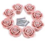 aPerfectLife 8Pcs High-end Elegant Rose Flower Ceramic Cabinet Knobs Cupboard Drawer Pull Handles