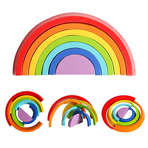 (USATDD Wooden Rainbow Stacking Nesting Puzzle Tunnel Blocks Stacker Game Geometry Building Creative Color Shape Matching Jigsaw Educational Toys Early Development Gift for Kids Baby Toddlers)