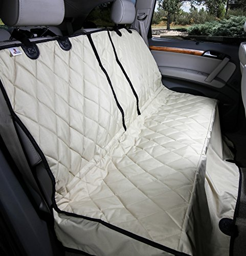 4Knines Dog Seat Cover with Hammock for Fold Down Rear Bench SEAT 60/40 Split and Middle seat Belt Capable - Tan Regular - for Cars, SUVs and Small Trucks - USA Based Company