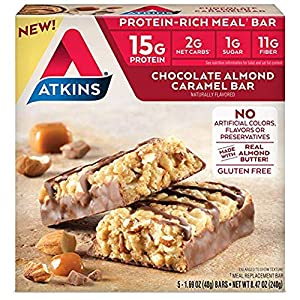 Atkins Protein-rich Gluten Free Meal Bar Chocolate Almond Caramel 5 Count by Atkins