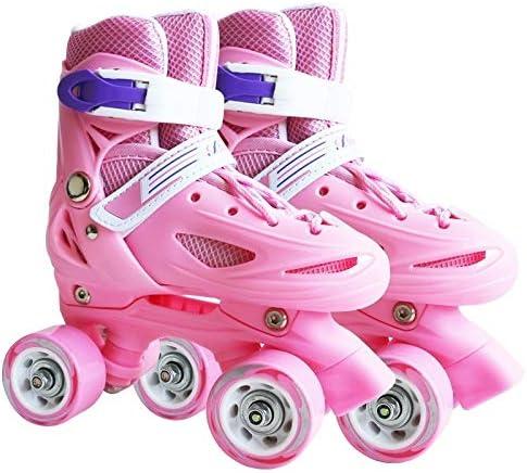 WTYD アウトドアスポーツ用品 Banweiキッズダブルロー四輪ローラースケートスケートシューズ、サイズ:M(ピンク) アウトドアライフのために ピンク