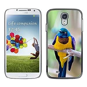 Planetar® ( Yellow Blue Bird Golden Feathers Branch ) SAMSUNG Galaxy S4 IV / i9500 / i9515 / i9505G / SGH-i337 Fundas Cover Cubre Hard Case Cover