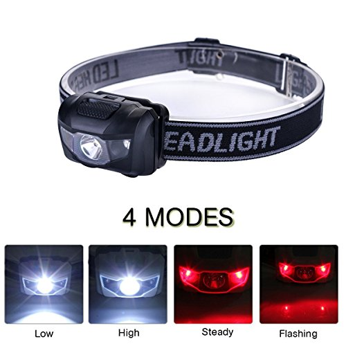 3-Pack Waterproof LED Headlamp (White and Red Lights), 4 Light Modes Lightweight Headlight for Running, Hiking, Hunting, Fishing, Camping by HappyOrange (Image #2)