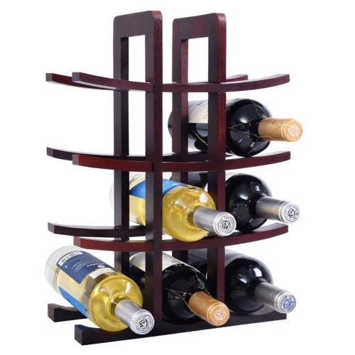 12 Bottle Wood Wine Rack Bottle Holder Storage Bar Kitchen Burgundy by Brand new