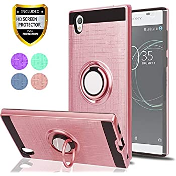 Sony Xperia L1 Case with HD Phone Screen Protector,Ymhxcy 360 Degree Rotating Ring & Magnetic Bracket Dual Layer Shock Bumper Cover for Sony Xperia L1 ...
