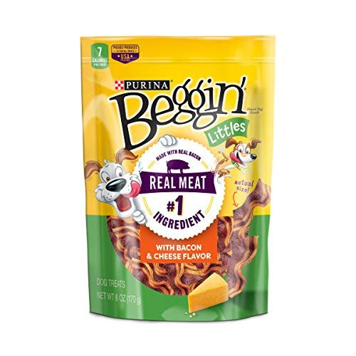 Purina Beggin Made in USA Facilities Small Breed Dog Treats, Littles With Bacon Cheese Flavor – 6 6 oz. Pouches