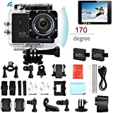PINGKO F71 Sports Action Camera,WIFI Full HD 1080P 30fps 12MP 2.0 LCD Screen 170 Degree Wide Angle Lens Underwater Diving Camera with 2pcs Batteries