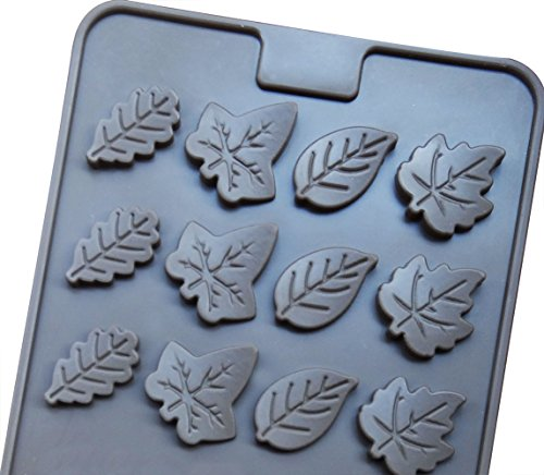 Mini Skater 2 PSC 24-cavity Leaf Shape Silicone Mold for Making Soap, Candle, Candy, Chocolate, and More (Leaf Shape Mold) ()