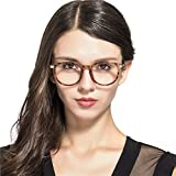 Unisex Anti Blue Light Round Computer Glasses Optical Eye Spectacle UV Blocking Gaming Filter Eyewear Frames for Men/Women Transparent Lens Reading Glasses, 0.0 Magnification