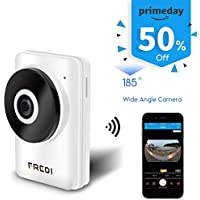 FREDI 185°Wide Angle WiFi IP Security Surveillance Camera with IR Night Vision /2-way Audio Support micro SD card max 128G HD Video Recording (F1)