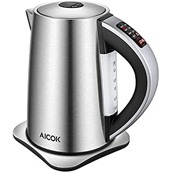 Aicok Electric Kettle Variable Temperature Control Water Kettle with 6 Temp Setting and Keep Warm Function 1.7L Stainless Steel Kettle Auto Shut Off Boil Dry Protection, 1500W