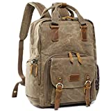 S-ZONE Waterproof Waxed Canvas Camera Backpack Camera Case 14 inch Laptop and Tripod