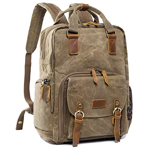 1943abbae S-ZONE Waterproof Waxed Canvas Camera Backpack Camera Case 14 inch Laptop  and Tripod