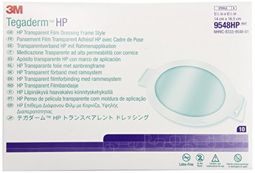 3M™ Tegaderm™ HP (Holding Power) Transparent Film Dressing Frame Style: 5 ½ in. x 6 ½ in. (14 cm x 16,5 cm): 10/Box