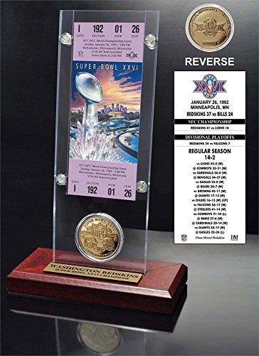 "NFL Washington Redskins Super Bowl 26 Ticket & Game Coin Collection, 12"" x 2"" x 5"", Black"