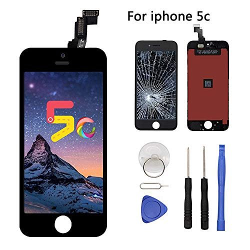 (Screen Replacement for iPhone 5C LCD Display Touch Screen Digitizer Replacement Full Assembly with Repair Tool Kit(iPhone 5c, Black))