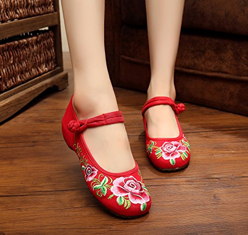 Embroidery Mary Flats Womens Jane Shoes Red Casual Rubber Sole AvaCostume SYgqZdEq