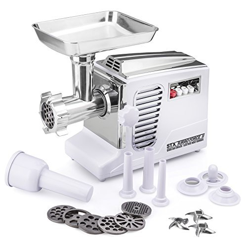 The All New Patented Model STX-4000-TB2 Turboforce II ''Quad Air Cooled'' White Electric Meat Grinder & Sausage Stuffer - The Ultimate in Power, Style and Performance.