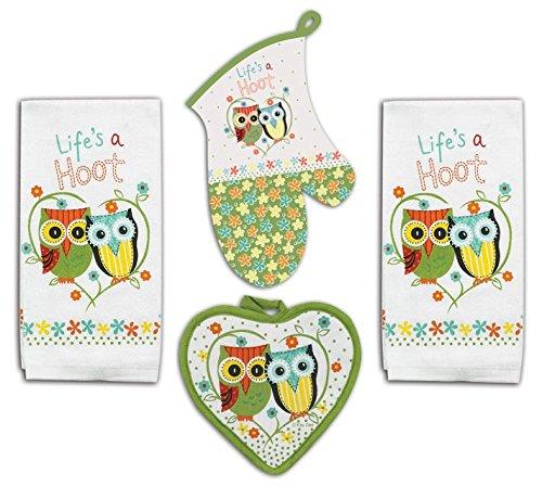 4 Piece Hoot Owl Kitchen Set - 2 Terry Towels, Oven Mitt, Potholder (Decor Owl Colorful Kitchen)