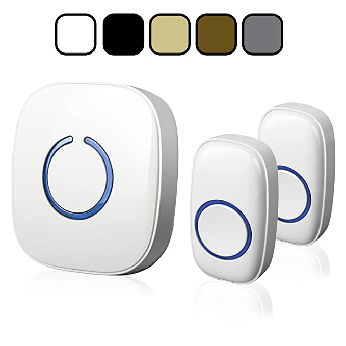 Review SadoTech Model CX Wireless Doorbell with 1 Receiver Plugin and 2 Remote Buttons Operating at over 500-feet Range with Over 50 Chimes, No Batteries Required for Receiver, (White)