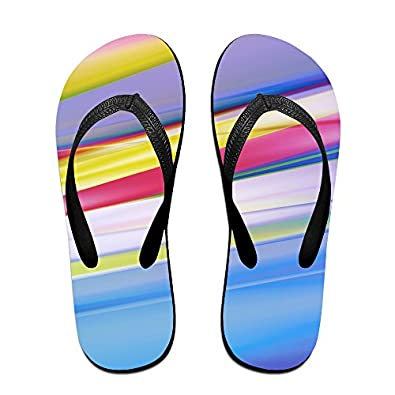 d3e31829f Jinqiaoguoji Customized Casual Background Lines Blue Orange Violet Yellow Womens  Sandals Beach Sandals Pool Party Slippers