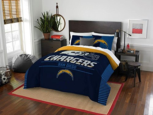 San Diego Chargers Comforter (San Diego Chargers - 3 Piece FULL / QUEEN SIZE Printed Comforter & Shams - Entire Set Includes: 1 Full / Queen Comforter (86
