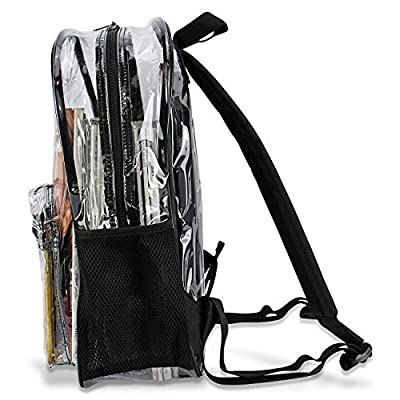 Clear Backpack By OMAYA – Durable PVC Bag For School, Travel, Security, Stadiums & More – Multi-Pockets Heavy Duty Clear Backpack For Adults & Kids – 5 Color Trim Clear Bookbag – Waterproof (BLACK) | Kids' Backpacks