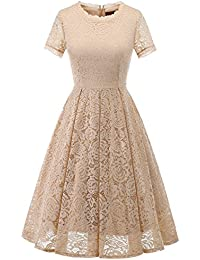 Women's Bridesmaid Vintage Tea Dress Floral Lace Cocktail...
