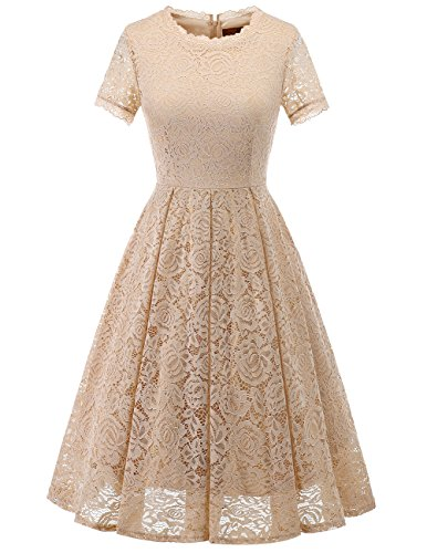 DRESSTELLS Women's Bridesmaid Vintage Tea Dress Floral Lace Cocktail Formal Swing Dress Champagne -