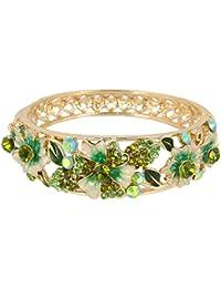 Women's Gold-tone Austrian Crystal Enamel Flower Leaf Bangle Bracelet
