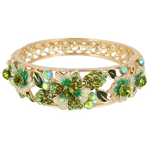 EleQueen Women's Gold-Tone Austrian Crystal Enamel Flower Leaf Bangle Bracelet -