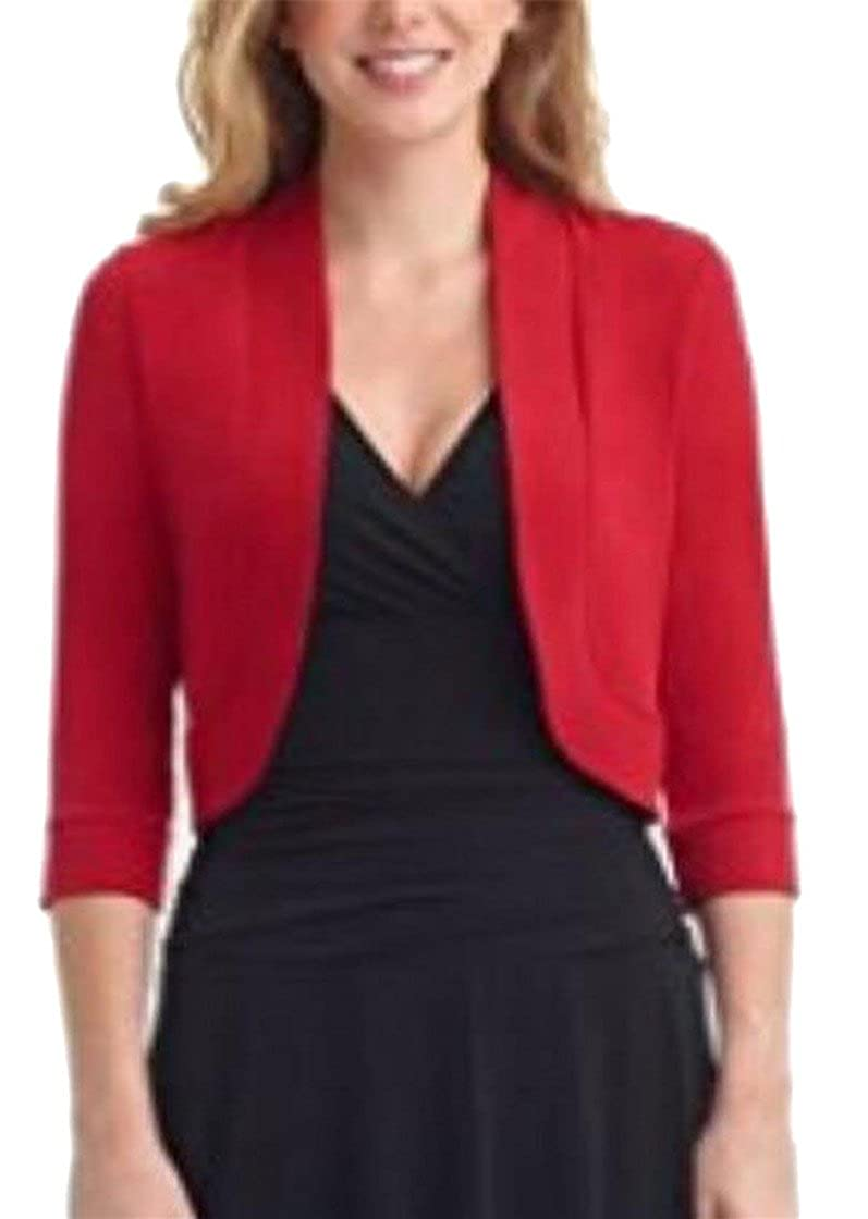 Jaycargogo Women Bolero 3//4 Sleeve Versatile Shrug Cardigan Open Front Crop Top