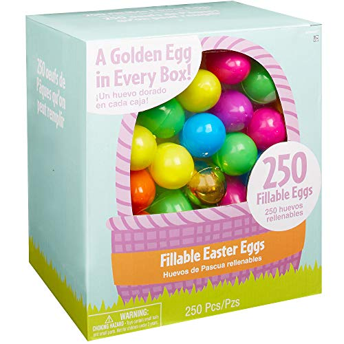 (Amscan 250ct Multi-Colored Fillable Easter Eggs, Plastic, 6 Assorted Colors, 1 3/4