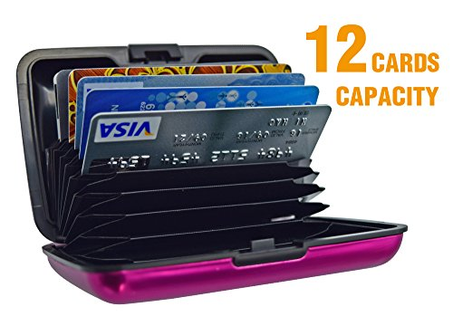 Utrax 12 Slots Aluma Wallet Multi Pockets Aluminum Purse Credit Cards Organizing Hard Case Holder for Rfid Scan Protection (Hot Pink) (Credit Purse)