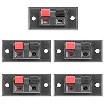 5Pcs 2Position Push-in Jack Spring Load Audio Speaker Terminals Panel Connector