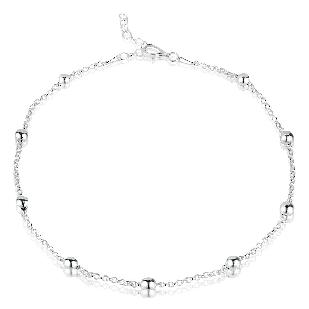 Sterling Silver Ankle Chain with Baubles - Variable Length 24-26.5cm Charlesworths Jewellery 29603