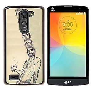 "Be-Star Único Patrón Plástico Duro Fundas Cover Cubre Hard Case Cover Para LG L Prime / L Prime Dual Chip D337 ( Retrato Café Sin camisa hombre Barba caliente"" )"