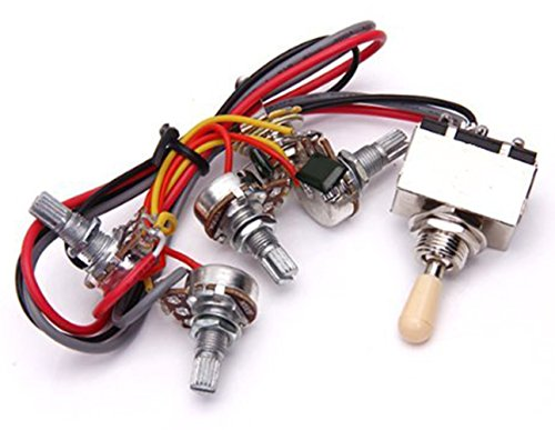 Electric Guitar Wiring Harness Kit Replacement for LP, 2T2V 3 Way Toggle Switch 500K Pots&Jack for Dual Humbucker Gibson Les Pual Style Guitar, Cream Tip