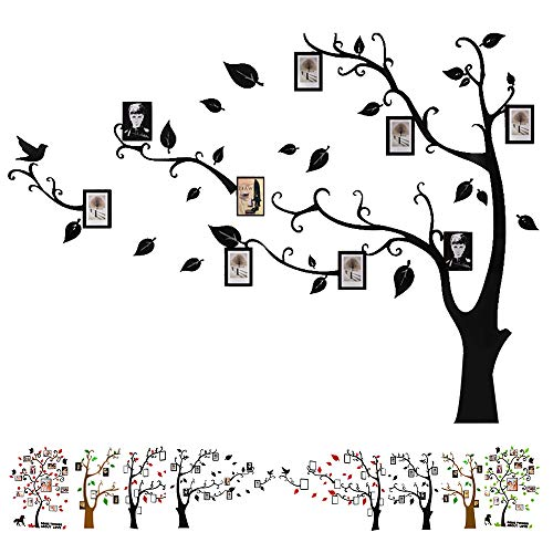 Baigio Woman Large Family Tree Wall Decals 3D DIY Photo Frame Wall Stickers Mural for Living Room Sofa TV Art Wall Background (Black-Right) ()