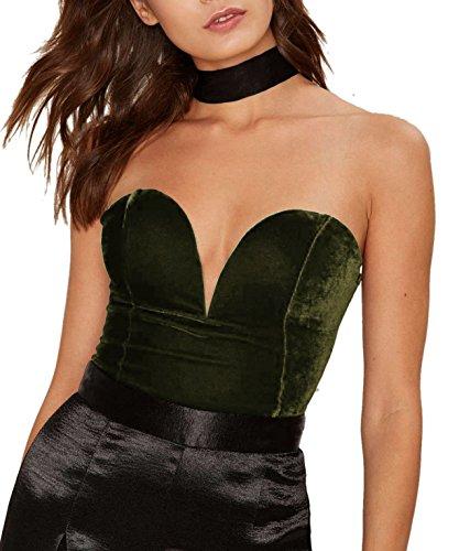 M.Brock Women's Plunging Sweetheart Back Lace Up Velvet Bodysuit (Large, Dark Green)