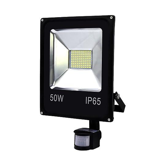 Hengda® Foco proyector Exterior LED detección de movimiento PIR sensor Resistente al agua con Sensor LED IP65 (50W Blanco frío): Amazon.es: Iluminación