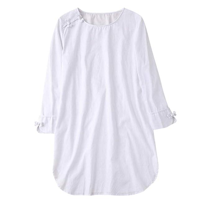 Luckycat Camisa de Manga Larga con Cuello Redondo de algodón y Lino (Blanco, Pequeña